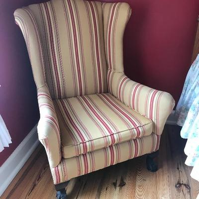 Antique Upholstered Wing Back Chair