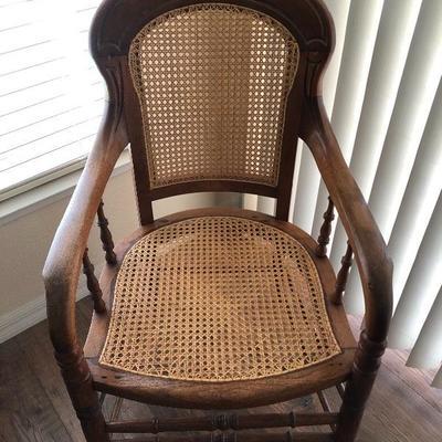 Vintage Oak & Cane Arm Chair - $200 - (22W  20D  36H)