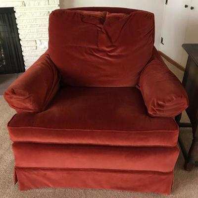 Mid Century Claret Red Crushed Velvet Club Chair