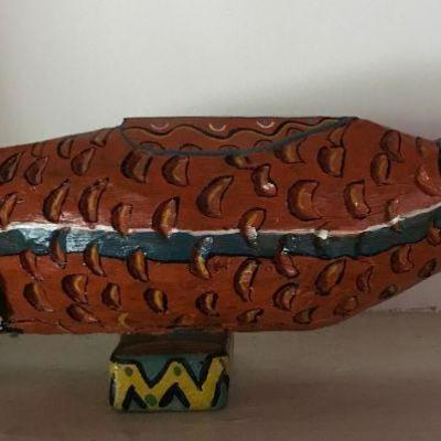 Carved primitive painted fish