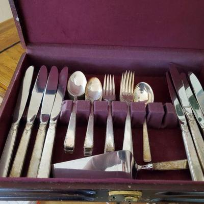 Towle sterling flatware for eight. More serving pieces were found since this photo was taken.
