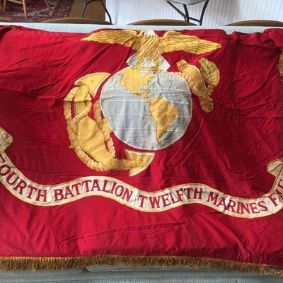 Historic Vietnam War Era Marine Battle Flag of the Fourth Battalion Twelfth Marines. Last Marine Corps Battle flag flown over Camp...