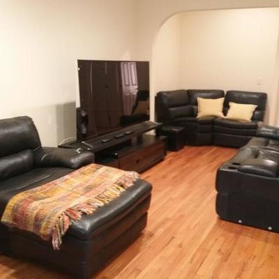 Television not for sale.  Couch system also combines into one piece and has two electric recliners as well as the chaise.