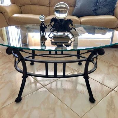 Oval Glass Top (w/Scalloped Edge) Coffee Table w/Metal Base - $45