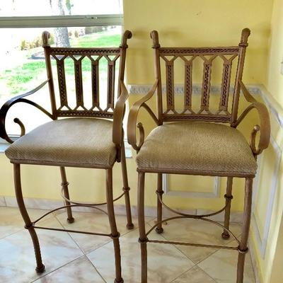 2 Matching Bar Chairs w/Upholstered Seats - $65 EACH - (21W  18D  30H seat height)