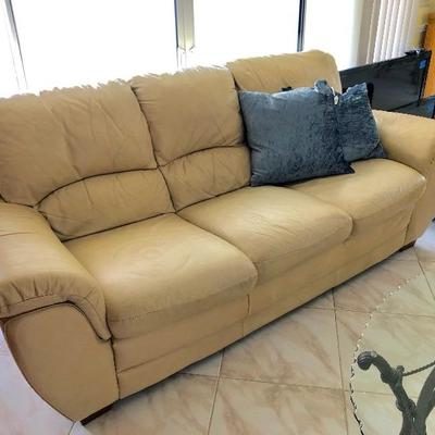 Beige Leatherette 3-Seat Sofa (some wear) - $75 - (91W  37-1/2D  37H at back)