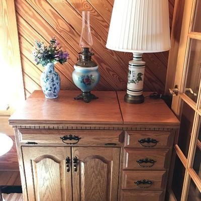 Beautiful Solid Oak Sewing Cabinet