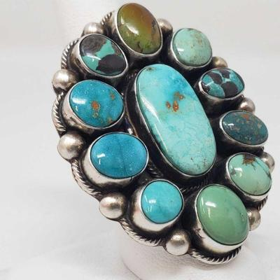 165: Original Kathleen G Marked Chunky Sterling Silver and Turquoise Cluster Ring in a size 8 Original Kathleen G Handmade Native...