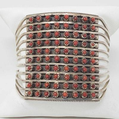 156: Zuni 10 Row Handmade Sterling Silver Coral Bracelet -S. Livingston Bracelet Zuni 10 row Handmade Bracelet made out Sterling Silver...