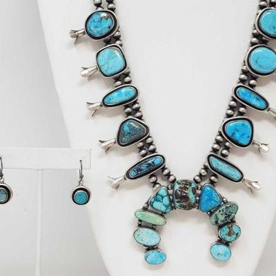 168: Authintic One of A Kind Artist Marked Sterling Silver and Turquoise Squash Blossom SET One of A Kind Artist Marked Sterling Silver...