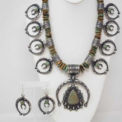 151: IMPORTANT Native American Sterling Silver Squash Blossom Set with Amazing Green Turqouse 391.8g Authentic LARGE Navajo squash...