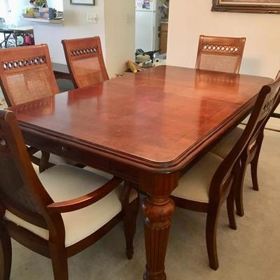 Cherry Finish Dining Table w/6 Chairs, 2 Leaves - $395 (45W  76L w/o leaves  30H)