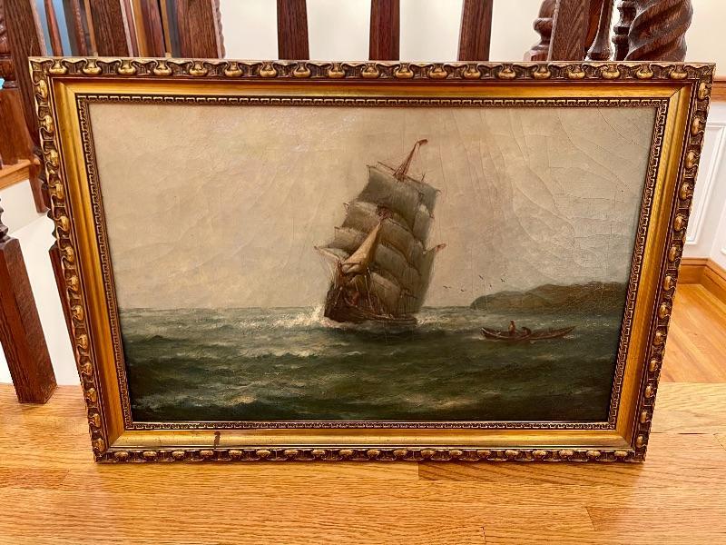 Original JJ McAuliffe 1914 oil painting - Outword Bound