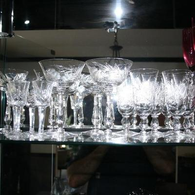 Collection of Vintage Etched Stemware