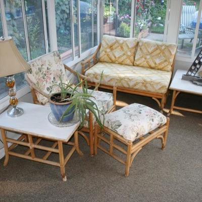 Heywood Wakefield  Mid-Century Modern Rattan Lounge Furniture Set