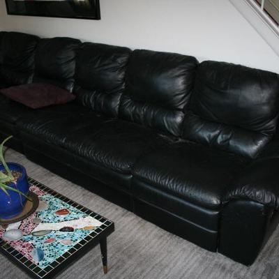 Black Leather Sofa Scetional