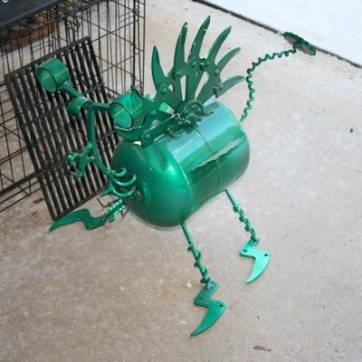Steampunk Yard Sculpture Art Mean & Green