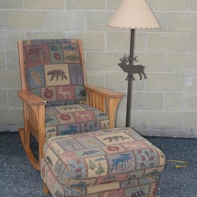 Bear Motif Fabric Oak Rocking Chair with Matching Ottoman
