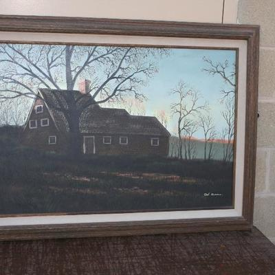 Framed Oil Painting on Canvas of Farm House in Montana by Del Ross