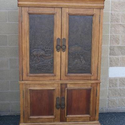 Dick Idol by Klaussner 2 Piece Cabinet with Deer & Bucks Motif Design into each of the Doors