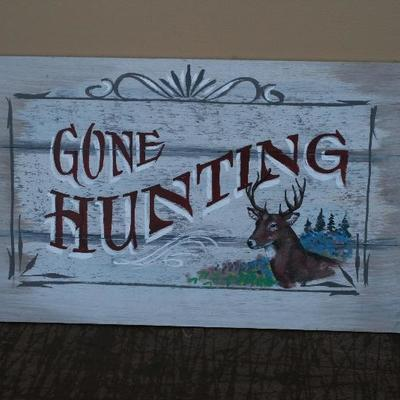 Painted Wooden Sign Gone Hunting