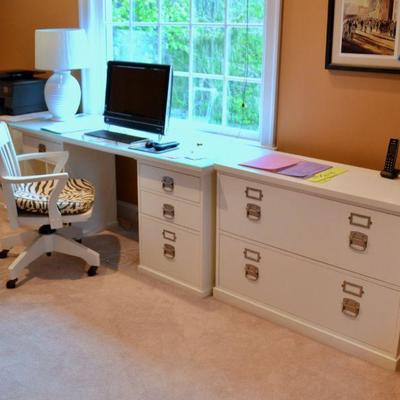 Pottery Barn desk, desk chair and file cabinets