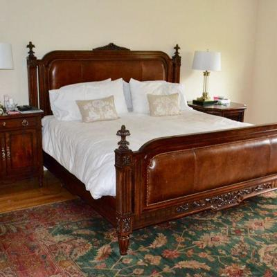 King bed with leather headboard and footboard