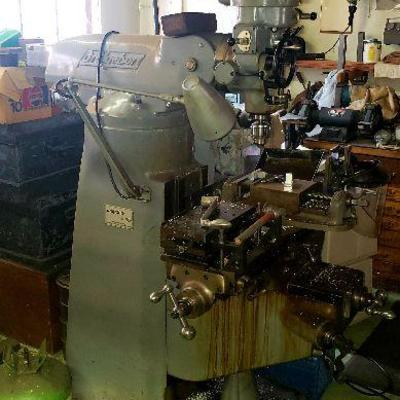 Bridgeport Milling Machine  J- Head vertical mill  (9 by 42 inch table, 1 hp motor, 4 speed, 240 vac, with x axis power feed, 3 phase...