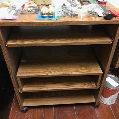 Rolling shelves/desk $15