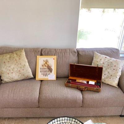 Taupe 3-seat Sofa w/attached Cushions - $115 - (80W  36D  33H)