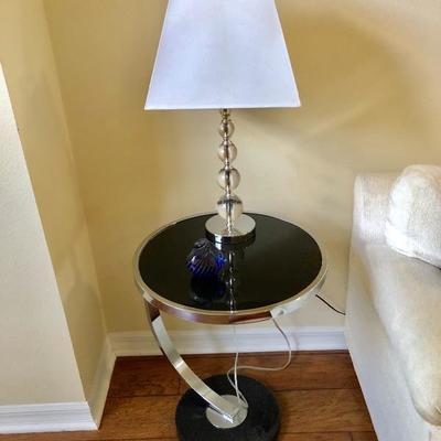 Round Black Glass Side Table - (18 Diam. 23H)