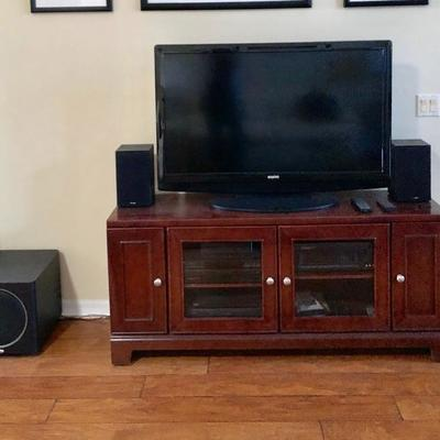 TWO Matching Media Consoles w/Glass Center Doors - $135 EACH - (60W  17D  26H)