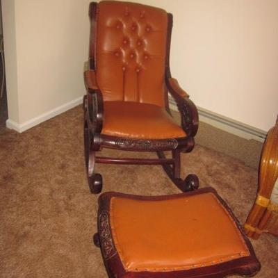 Antique Leather Rocker with Ottoman