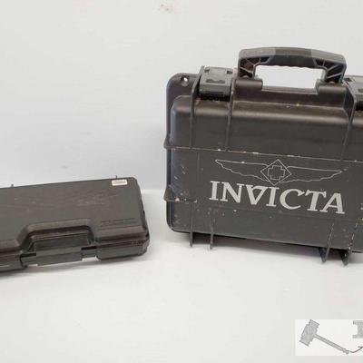 Invicta Hard Case and Small Hard Handgun Case Invicta Hard Case w/ Locks and Carry Handle and Small Doskocil Hard Handgun Case...