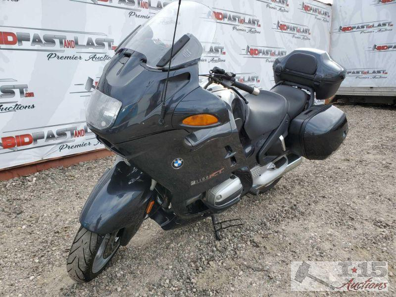 65:  2000 BMW R1100RT, Black Bike has front adjustable windshield, hand controls for radio, removable saddle bags and back storage bin. Year: 2000 Make: BMW Model: R1100RT Vehicle Type: Motorcycle Mileage: 39537 Plate: 15P9107 Body Type: Trim Level: Drive Line: Engine Type: 2cyl, 66.2CID; 4-Stroke Fuel Type: Gasoline Horsepower: 90HP Transmission: VIN #: WB10418A1YZC67694  DMV fees $15 and $70 doc fees