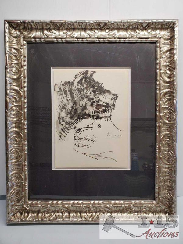 "Pablo Picasso ""LE CHIEN"" WaterColor Painting Pablo Picasso ""LE CHIEN"" WaterColor Painting. Appears to have printed copy of Authenticity."