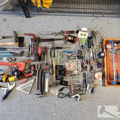 Misc Tool Lot Hand and power tools included. Ceramic Tile Cutter in box. Brands include craftsman, husky, DeWalt, Stanley and more!