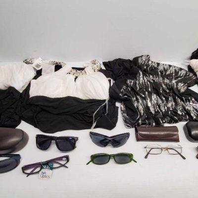 Four Women's Dresses, Seven Pairs of glasses w/ Three cases Four Women's Dresses, Seven Pairs of glasses w/ Three cases
