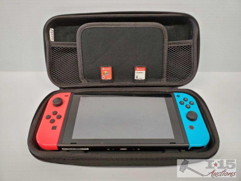 Nintendo Switch w/ Case and Two Games Nintendo Switch w/ Case and Two Games. Games are Super Mario Odyssey and Fifa19  OS19-008563.1(4 of 4)