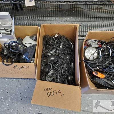 Three boxes of various cords, security camera equip., and more! Three boxes of various cords, security camera equip., and more!