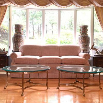 Kravet Three Seat Sofa, Brass Hoof Foot Coffee Tables, Waterford Lamps, Lladro, Rose Medallion Chinese Export Pottery Floor Vases