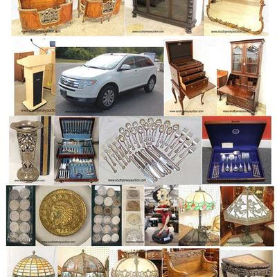 estate auction furniture collectibles gold sterling jewelry lamps lighting rugs carpets cabinets cupboards bedroom dining living room...