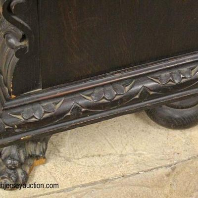 """SOLID Oak """"R.J. Horner"""" Figural Carved with Paw Feet 3 Door Bookcase with Original Finish  Auction Estimate $1000-$2000 – Located Inside"""