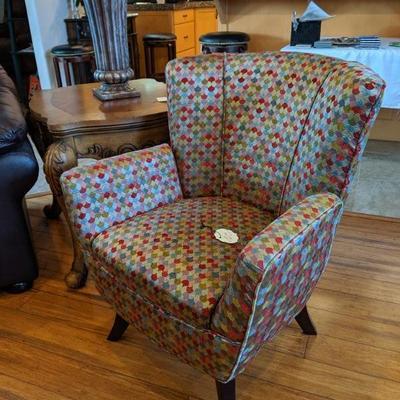 TC-106 Upholstered side chair, geometric print $175