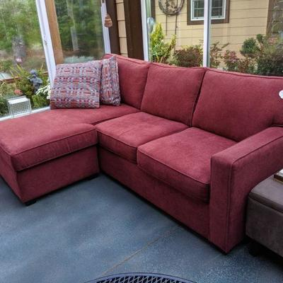 TC-107 2-piece sectional, excellent condition, minor fading Chaise lounge has under-storage $375