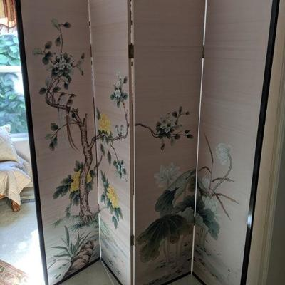 901-204 Silk asian folding screen slight water damage on one panel - visible only on the back $45