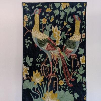 902-213 Beautiful needlework wall-hanging, approximately 3' x 4', featuring pair of peacocks. $75