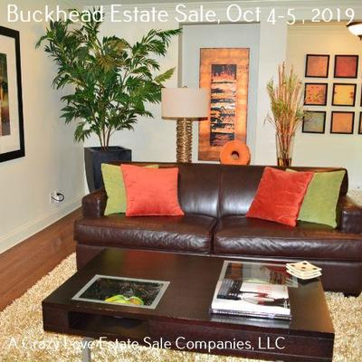 Leather Sofa and Coffee Table **art in alcove Not for Sale