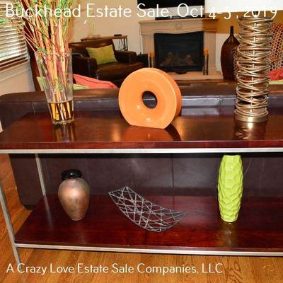 Console Table with Lamp and Decor