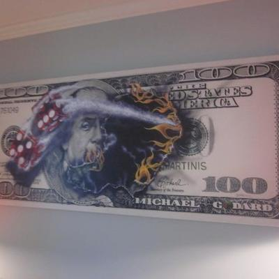 Michael Godard Art with Certificate $100 Bill with Dice with certificate